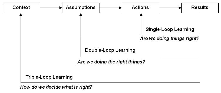 the concept of the single and double loop learning model Argyris and shon's double loop learning theory posits that there are two sets of variables or theories sets that determine our thinking and decisions this solution of 242 words provides a review of the double loop learning theory on feedback in learning and performance improvement by.