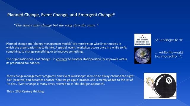 PLANNED, EVENT AND EMERGENT CHANGE